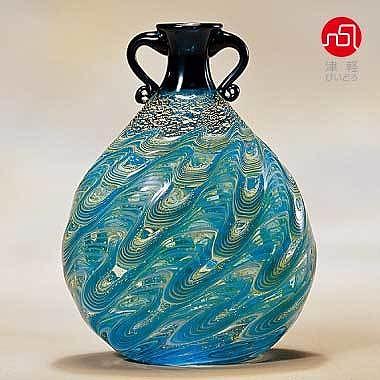 石塚硝子 ISHIZUKA GLASS アデリアグラス ADERIA GLASS 津軽びいどろ 大川花器 津軽海峡 F79643 花瓶