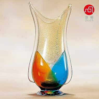 石塚硝子 ISHIZUKA GLASS アデリアグラス ADERIA GLASS 津軽びいどろ 秋村花器 金彩秋風 F79624 花瓶