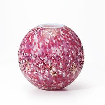 石塚硝子 ISHIZUKA GLASS アデリアグラス ADERIA GLASS 津軽びいどろ 弘前桜丸花器(花あかり) F71746 花瓶