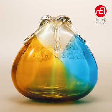 ポイント20倍中 信用 石塚硝子 ISHIZUKA GLASS アデリアグラス おトク ADERIA F77308 金彩秋風花器 大 花瓶 津軽びいどろ