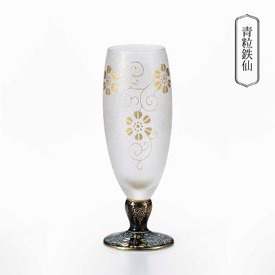 石塚硝子 ISHIZUKA GLASS アデリアグラス ADERIA GLASS みぞれ九谷 酒グラス 九谷焼 125ml 青粒鉄仙 9416 白粒鉄仙 9417