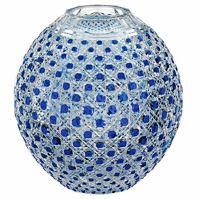 【期間限定!ポイント5倍中!】NARUMI ナルミ 江戸切子 瑠璃色被毬型花瓶(八角籠目紋) 19cm F798-1CCB