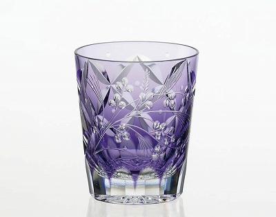 KAGAMI CRYSTAL カガミクリスタル 焼酎ロックグラス 萩とススキ(伝統工芸士根本達也) 230cc T557-2650CMP