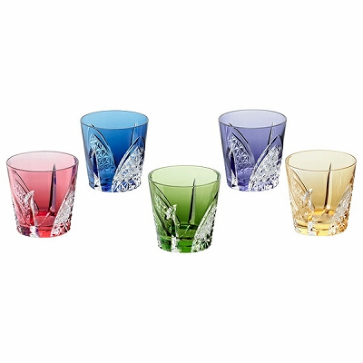 KAGAMI CRYSTAL カガミクリスタル 江戸切子冷酒杯5色セット(折り鶴) 120cc TS481-27825 盃