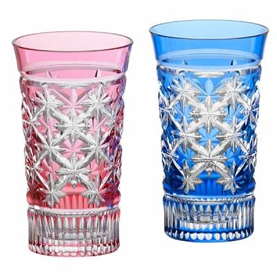 ポイント5倍中 KAGAMI CRYSTAL カガミクリスタル 江戸切子 ペアスリムグラス ビアグラス 国際ブランド 星繋ぎ紋 安心の定価販売 TPS587-2951AB 120cc ビールグラス