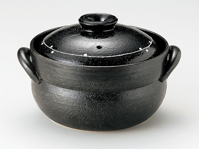 三陶 萬古焼 黒釉線紋 4合炊きご飯釜 51-13665 ご飯鍋 土鍋