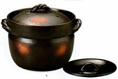 三陶 萬古焼 4合炊きご飯釜(二重蓋) ご飯鍋 土鍋 50-17590