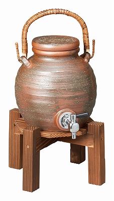 陶里 第30集 (信楽焼) 灰釉手付焼酎サーバー(ラジウム入り)焼杉台付 40412-430