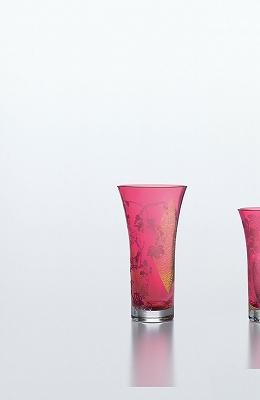 東洋佐々木ガラス 紅玻璃 葡萄文花器 LV68357RAU-S171 花瓶