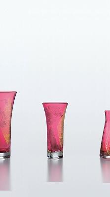 東洋佐々木ガラス 紅玻璃 葡萄文花器 LV68309RAU-S170 花瓶