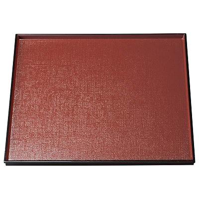 A 現品 布目角盆 銀朱天黒 1100917 海外 尺0寸
