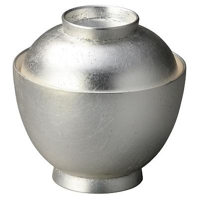 配送員設置送料無料 木質 耐熱3.2寸玉子椀 総本銀箔貼り 賜物 1001237