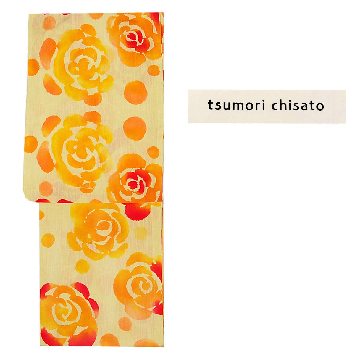 tsumori chisato ブランド レディース 浴衣 単品 ツモリチサト 黄色 オレンジ 花柄番号a44-5