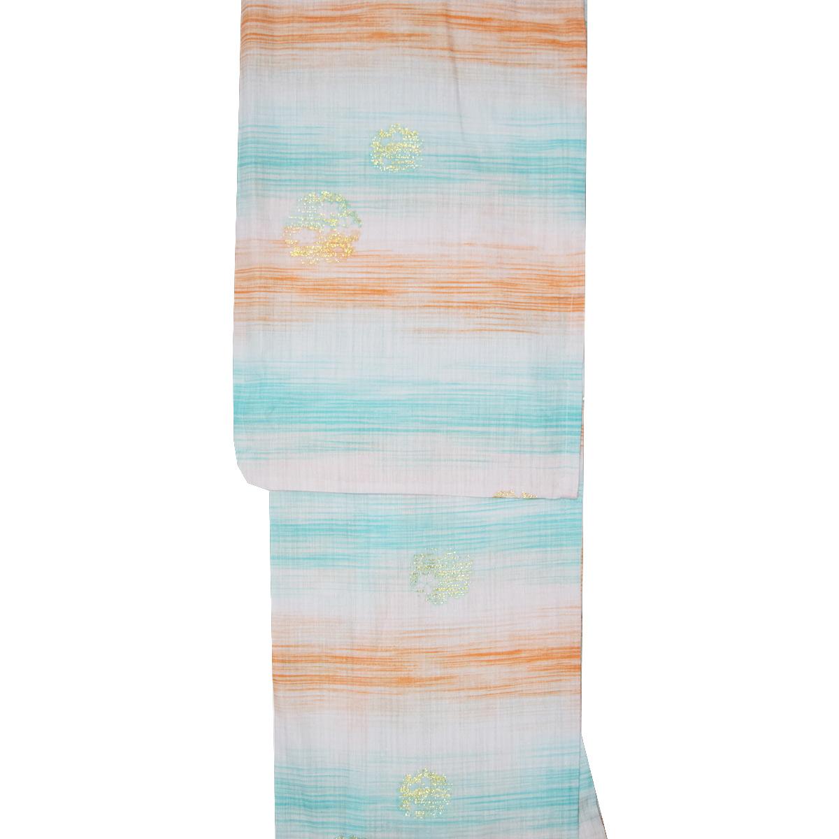 【綿麻】ブランド 浴衣 単品麻混 ゆかた yukata お祭り レトロ モダン 緑 オレンジ 白番号b501-20