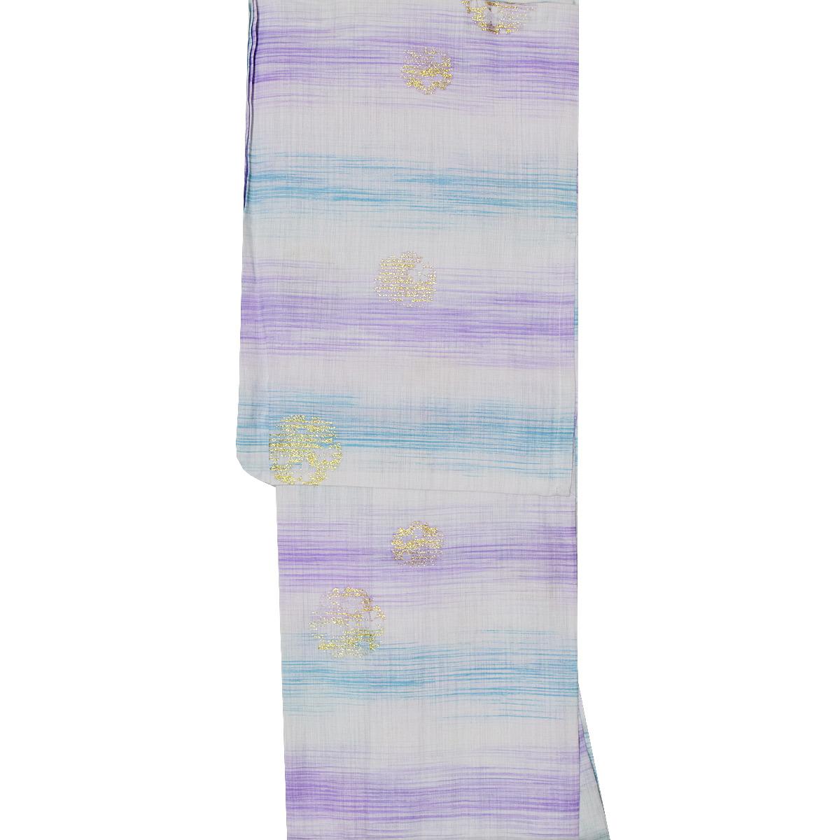 【綿麻】ブランド 浴衣 単品麻混 ゆかた yukata お祭り レトロ モダン 青 紫番号b501-21