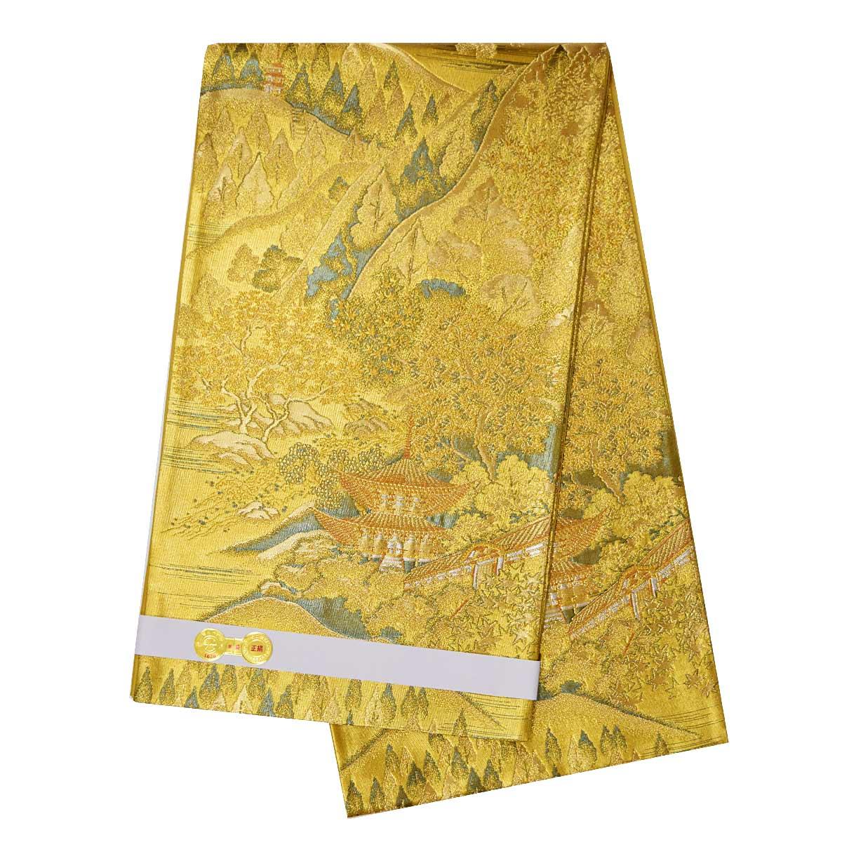 仕立て上がり 袋帯 単品 送料無料 礼装袋帯 着物 和服 和装 ゴールド 金番号c1228-3【BF】