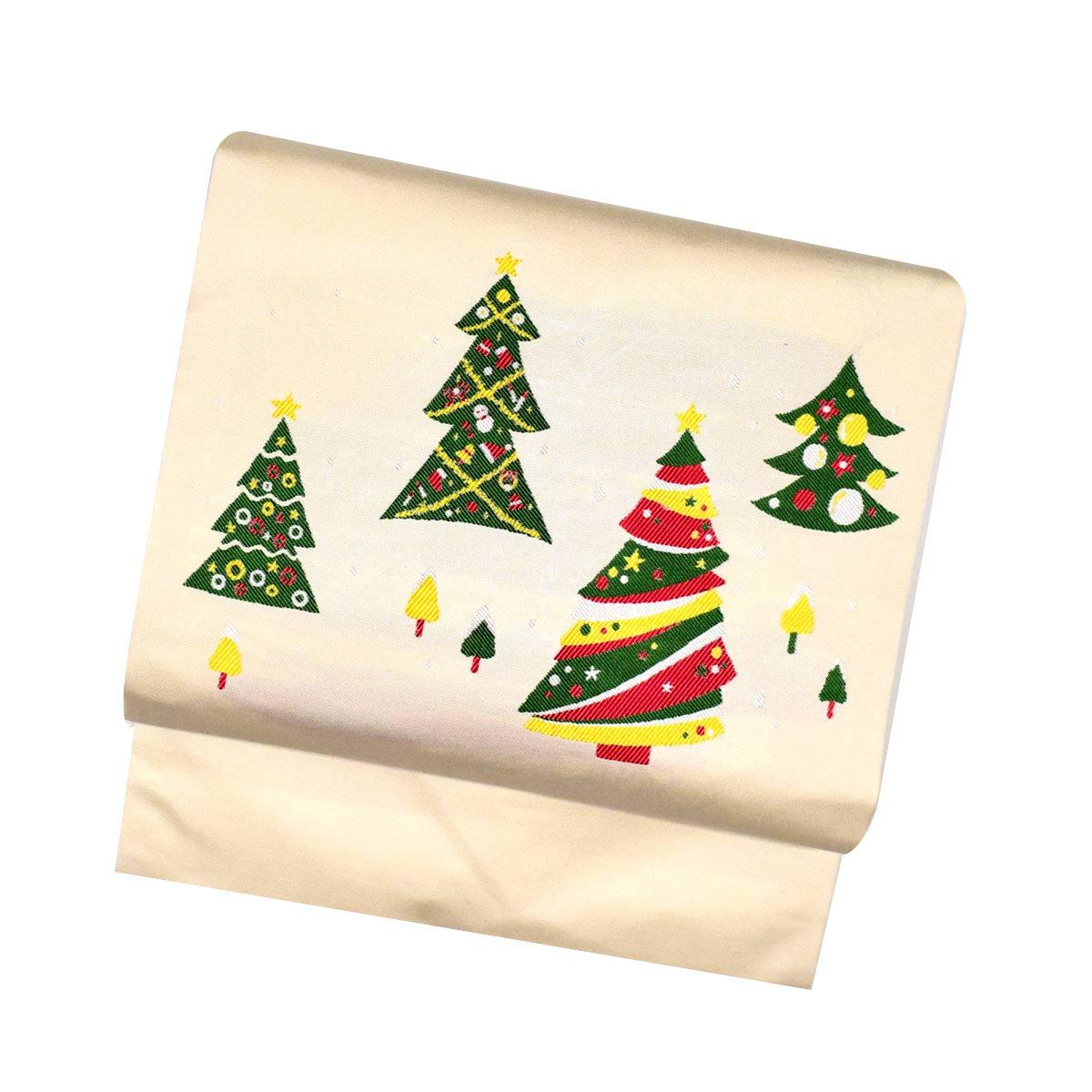 【クリスマスツリー柄】仕立て上がり 西陣織 名古屋帯【少々難あり】お洒落 クリスマス 白番号c1211-9