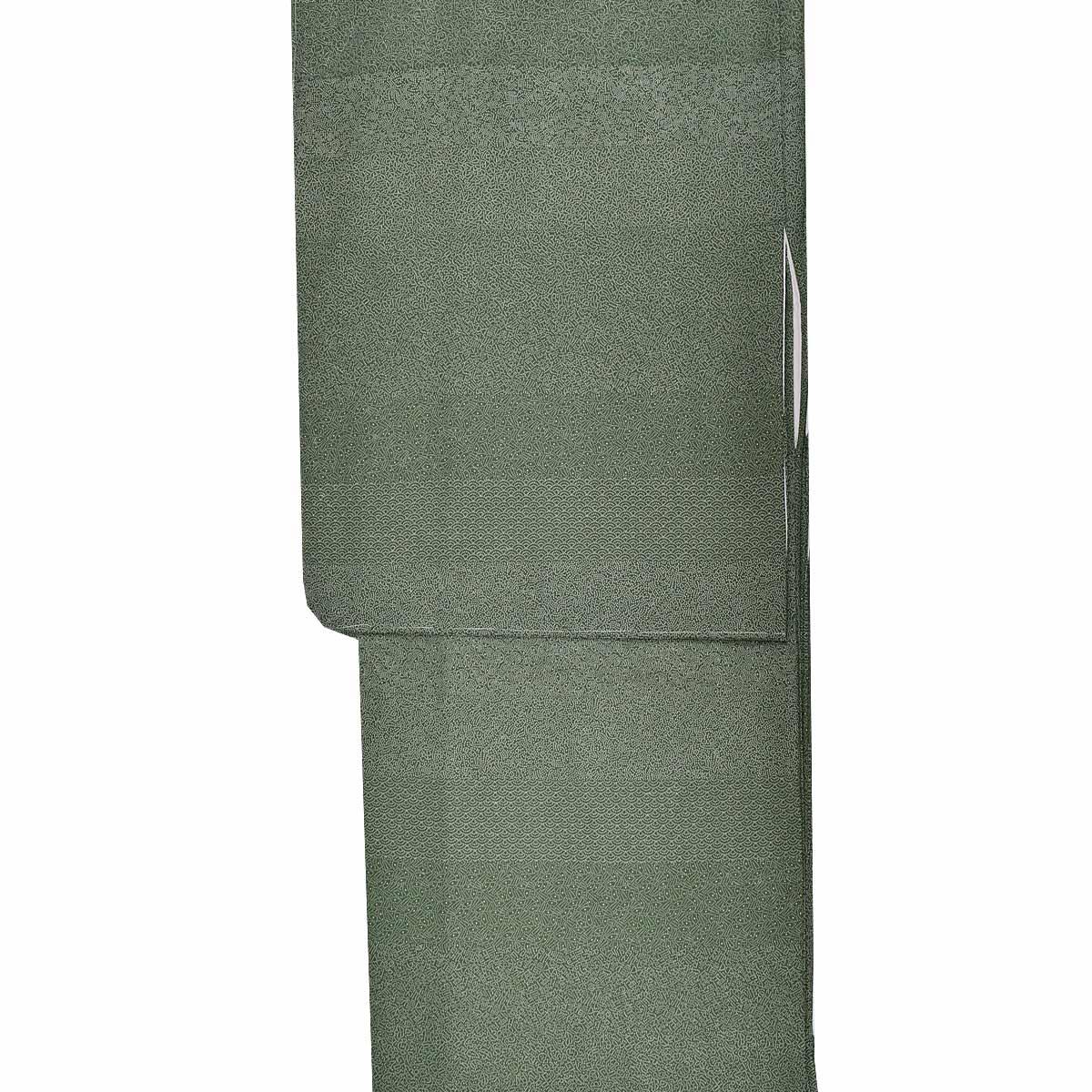【裂取り】洗える 袷 江戸小紋 単品【M寸】洗える着物 普段着 小紋 緑番号c1105-6a