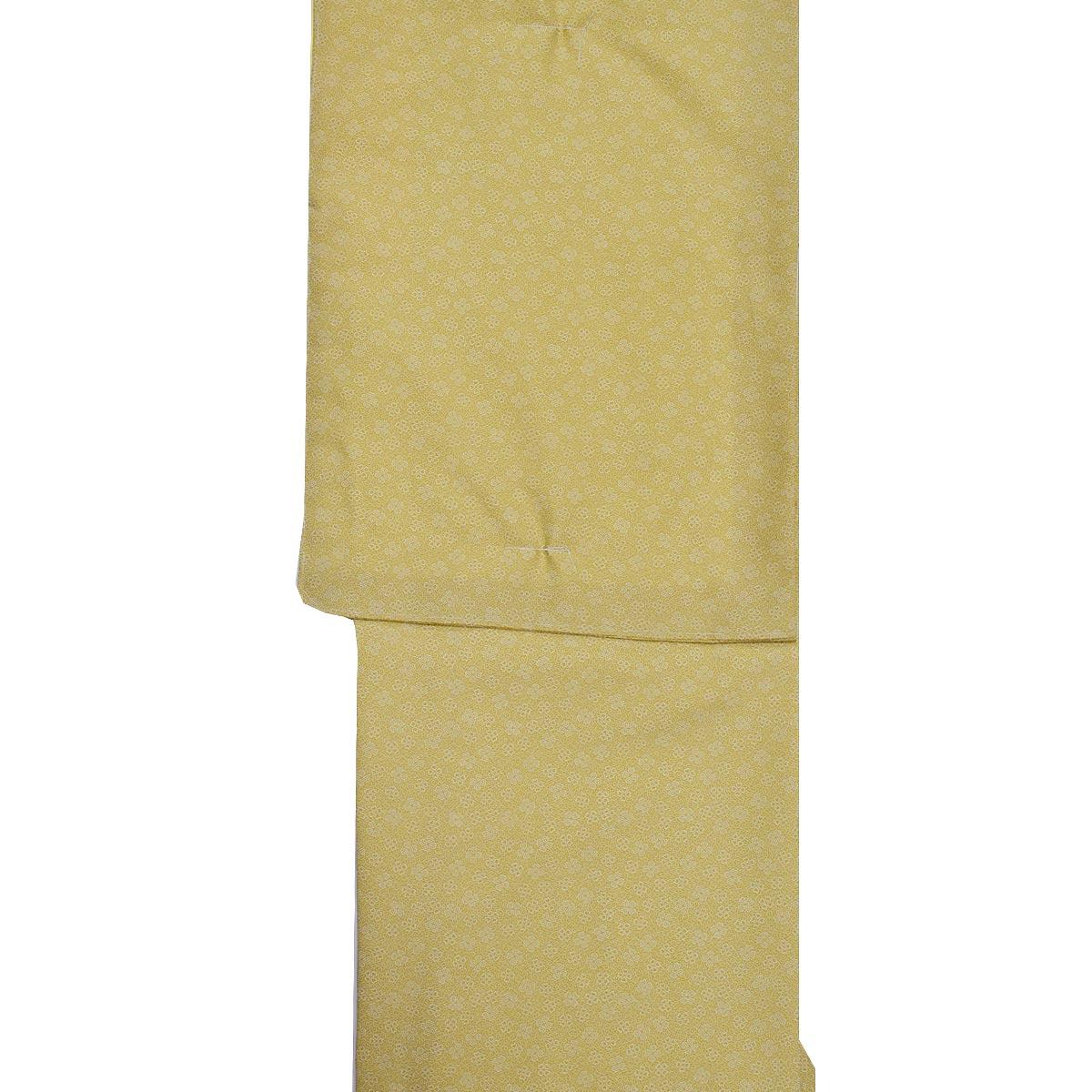 【クローバー】洗える 袷 江戸小紋 単品【M寸】洗える着物 普段着 小紋 黄色番号c1105-6i