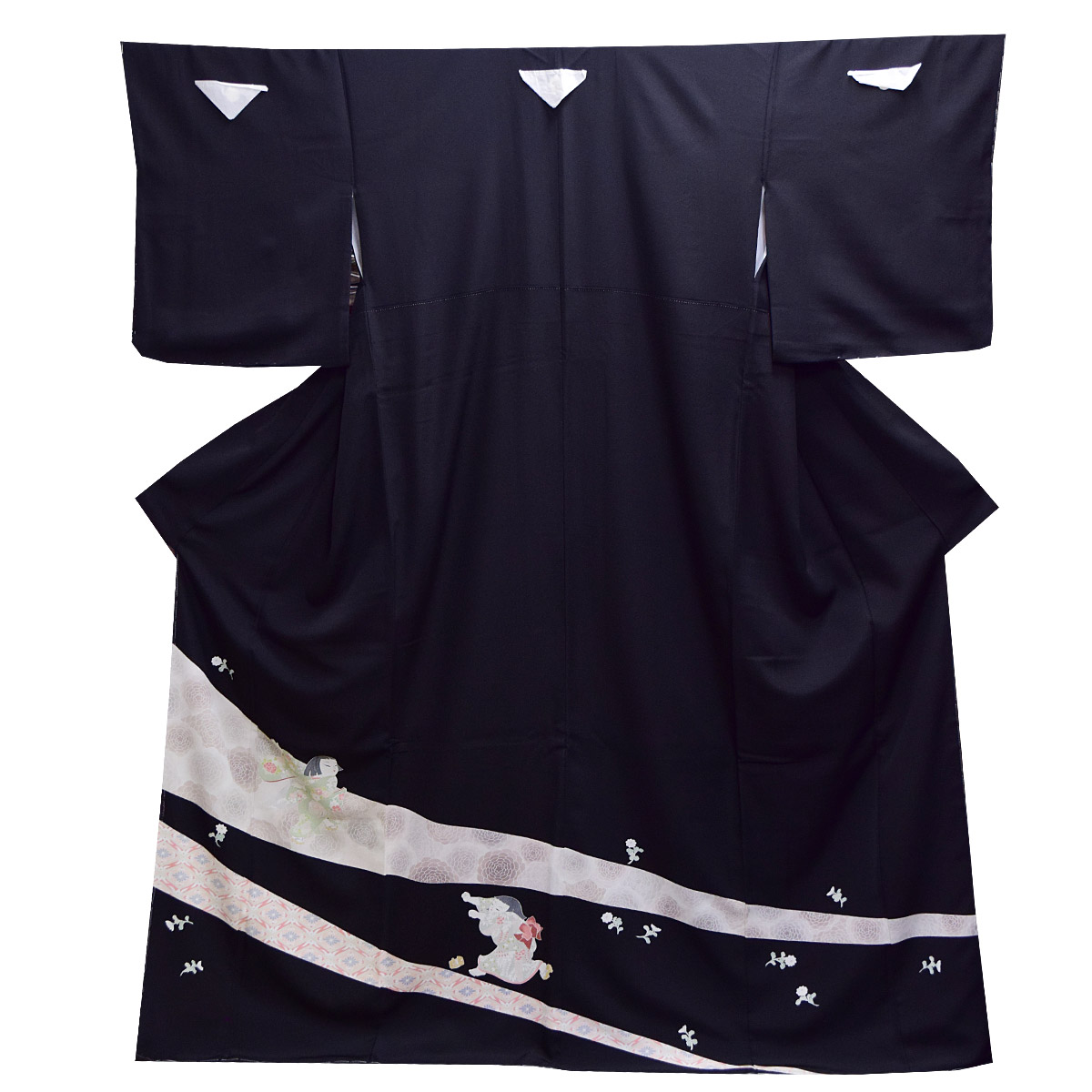 M寸礼装 黒留袖 単品 黒 仕立て上がり 童【紋入れ代込み】番号112645 正絹 留袖