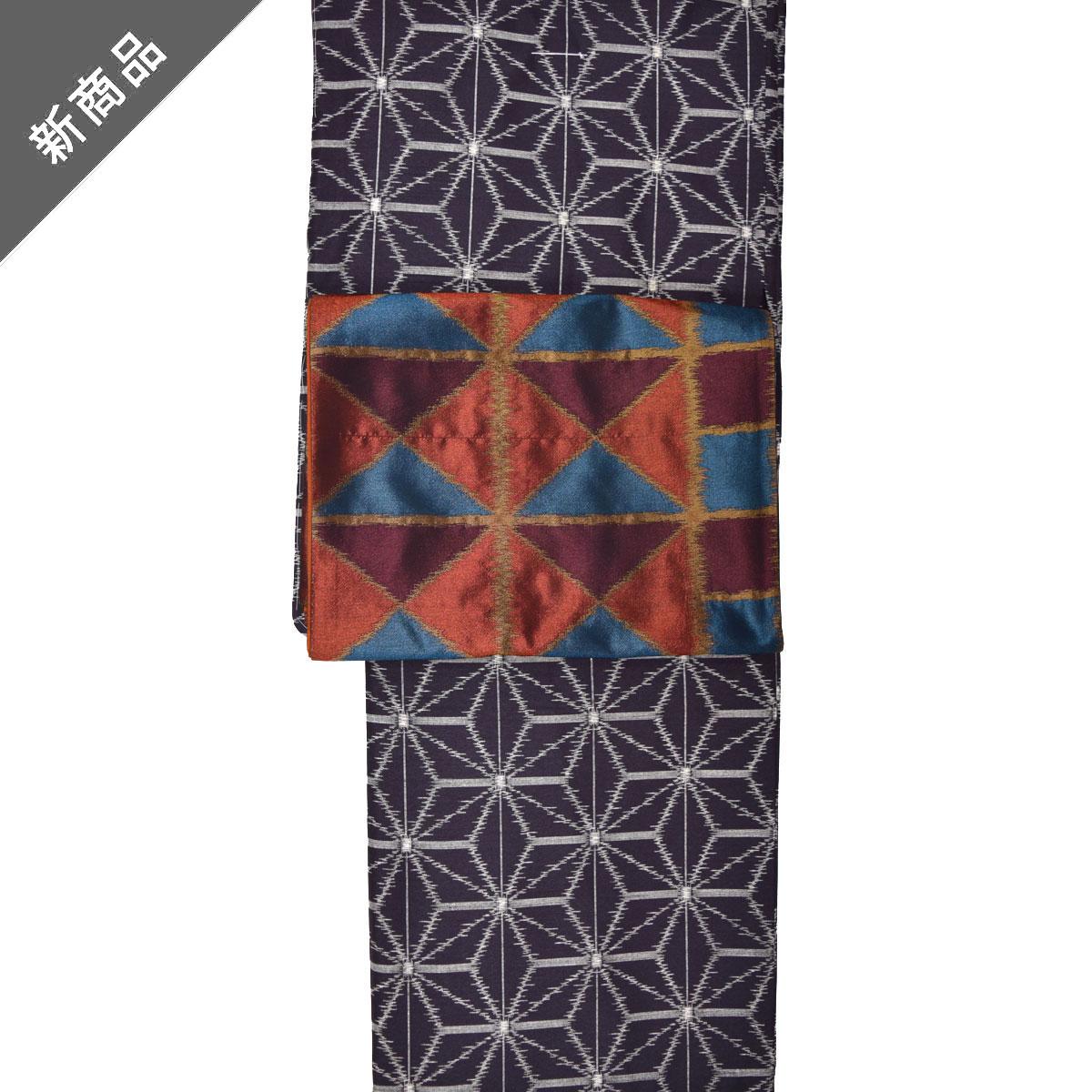 洗える着物【袷】セット【Mサイズ】洗える着物【紬bonheur saison】+洗える京袋帯番号d129-107