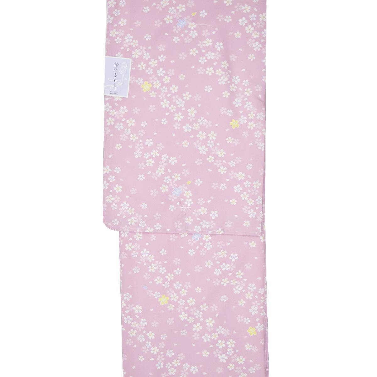 【L寸】洗える着物 単品【袷】仕立て上り着物 普段着 お洒落 和服 小紋 花柄 ピンク番号d212-24【2019_9ss】