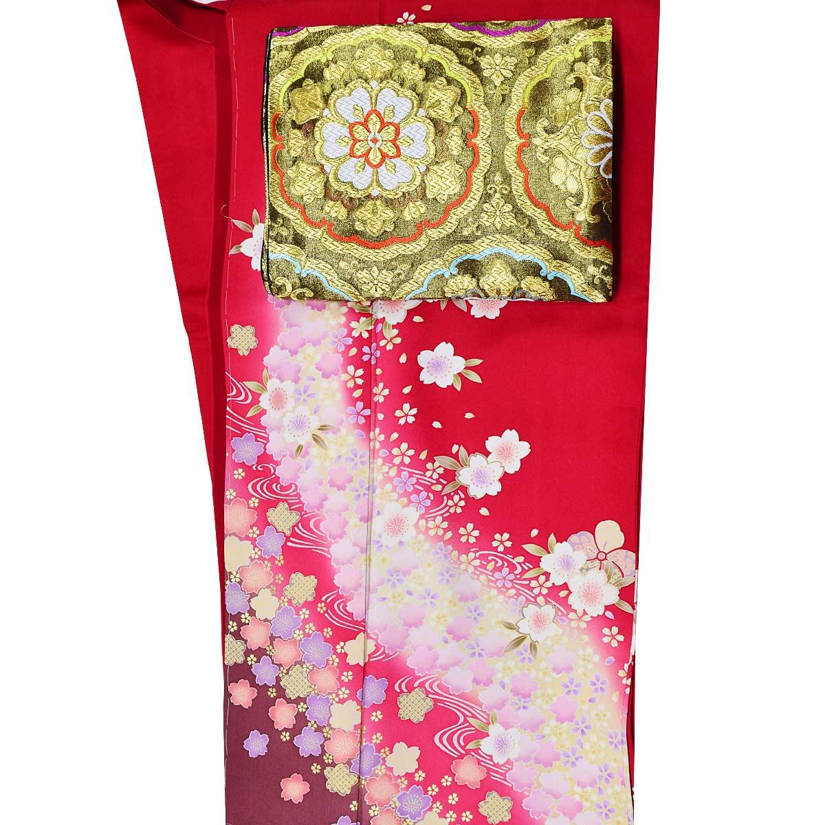 高級 仕立て上がり 振袖 単品成人式 結婚式 パーティー 礼装 赤 桜 花柄番号d401-10