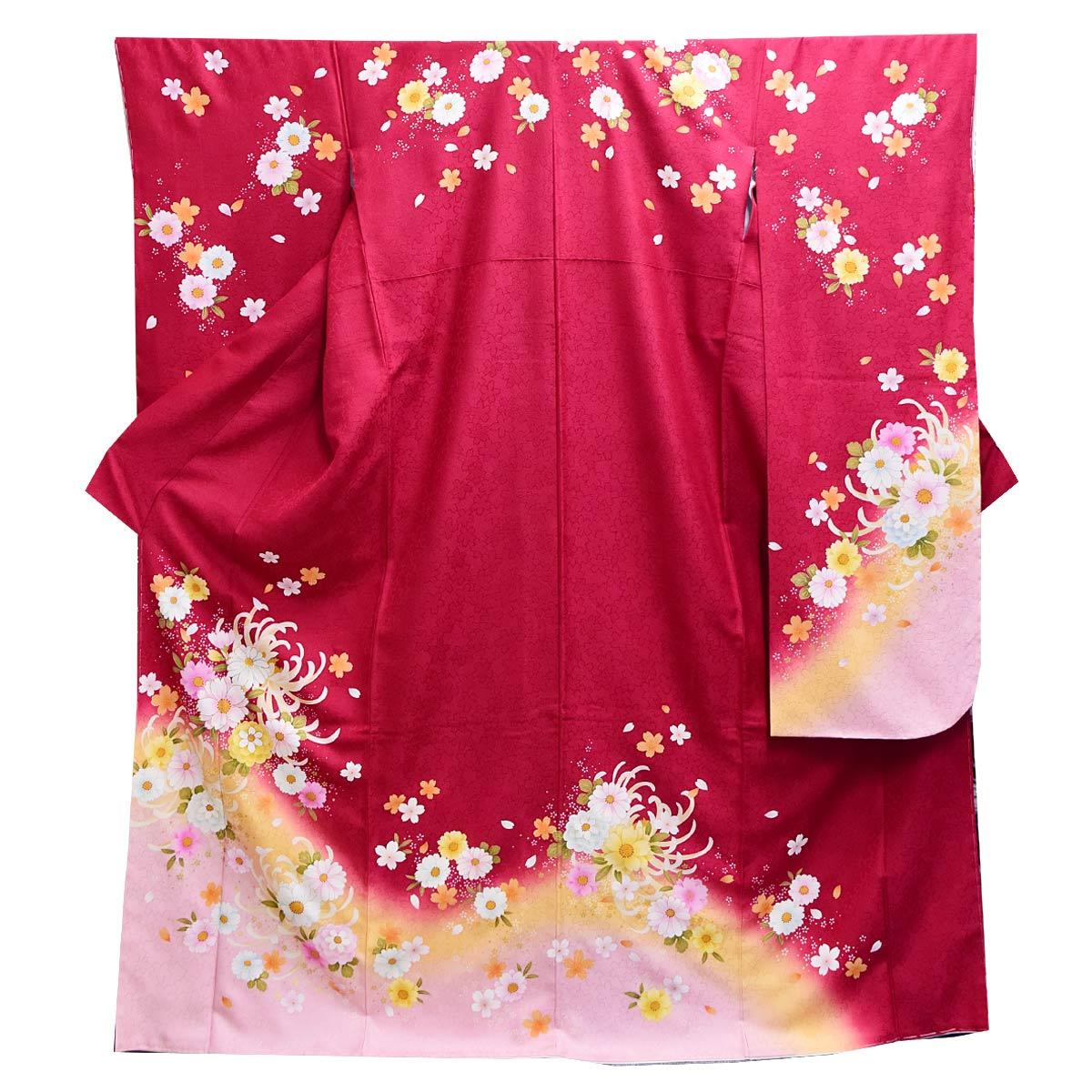 高級 仕立て上がり 振袖 単品成人式 結婚式 パーティー 礼装 赤 ピンク 花柄番号d401-11
