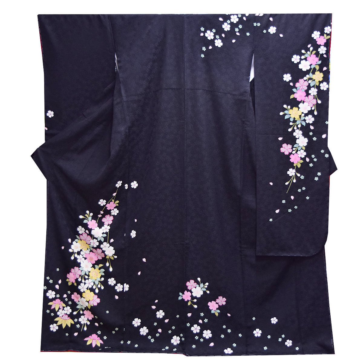 高級 仕立て上がり 振袖 単品成人式 結婚式 パーティー 礼装 黒 赤 桜 花柄番号d401-3