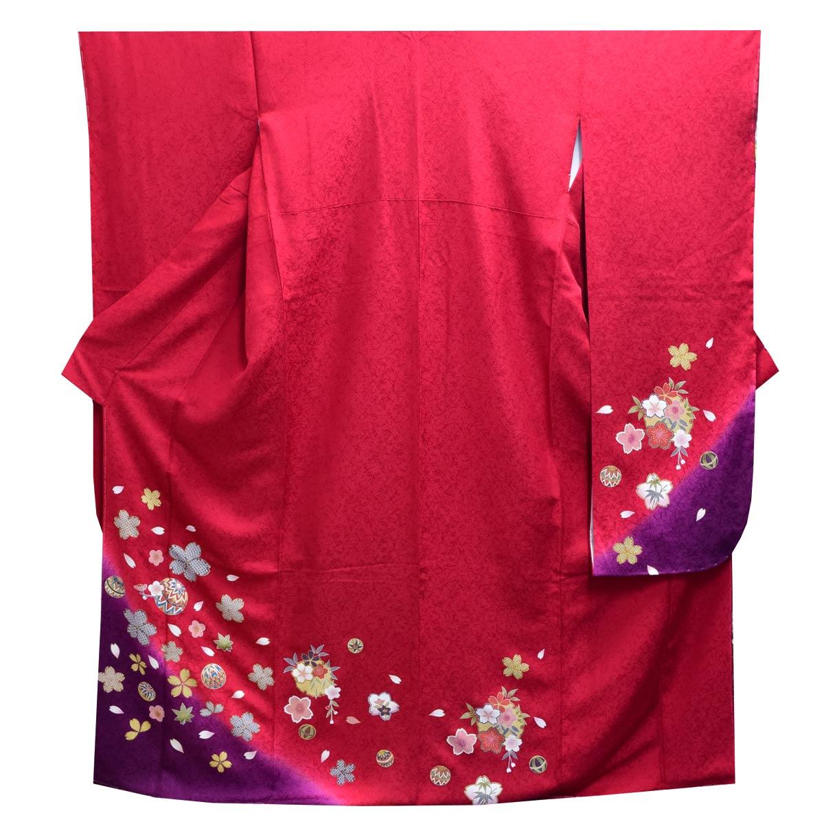 《30%オフクーポン利用可》お買い物マラソン高級 仕立て上がり 振袖 単品成人式 結婚式 パーティー 礼装 赤 紫 桜 毬 花柄番号d401-4