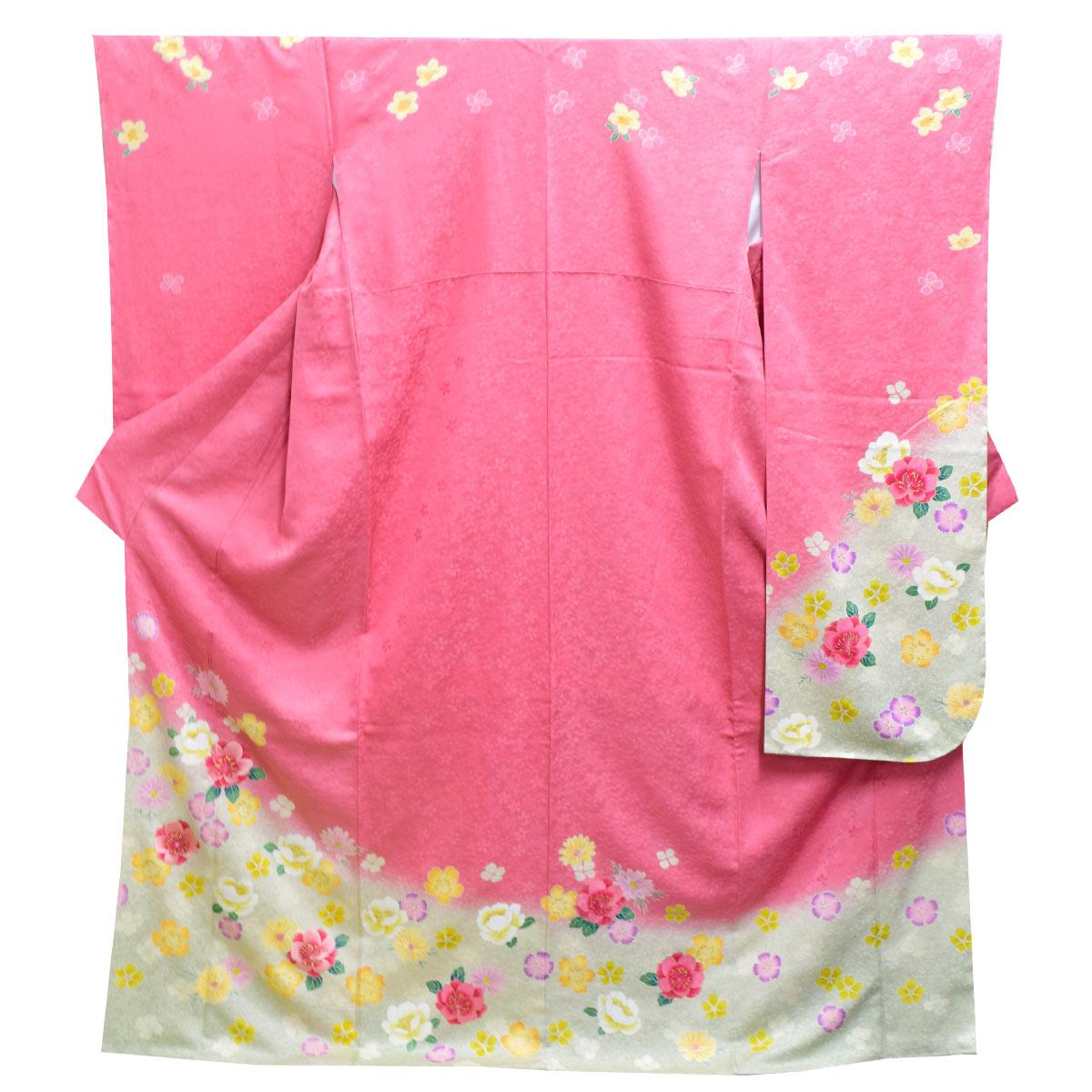 《30%オフクーポン利用可》お買い物マラソン高級 仕立て上がり 振袖 単品成人式 結婚式 パーティー 礼装 ピンク クリーム色 桜 花柄番号d401-5