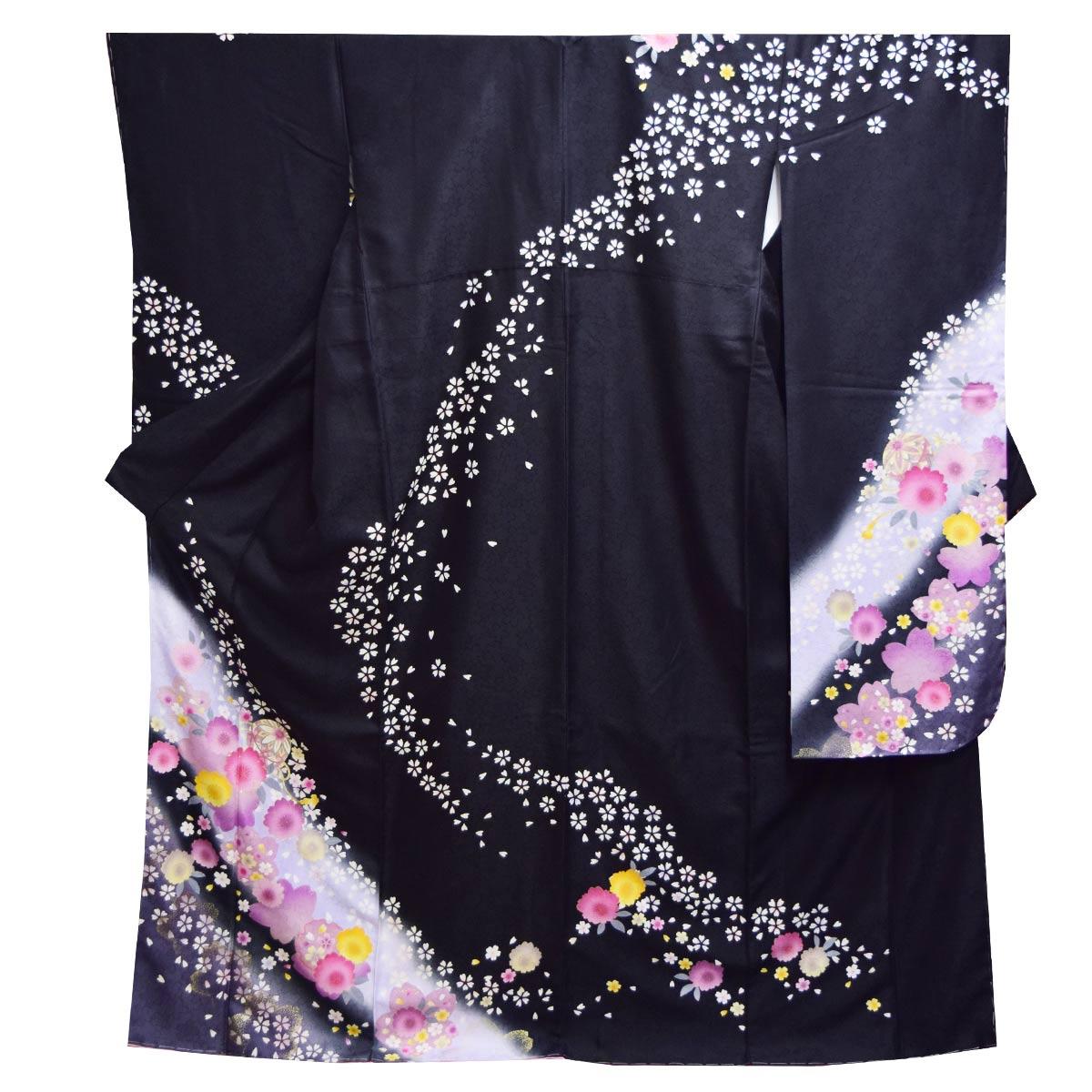 《30%オフクーポン利用可》お買い物マラソン高級 仕立て上がり 振袖 単品成人式 結婚式 パーティー 礼装 黒 ピンク 桜 毬 花柄番号d401-7