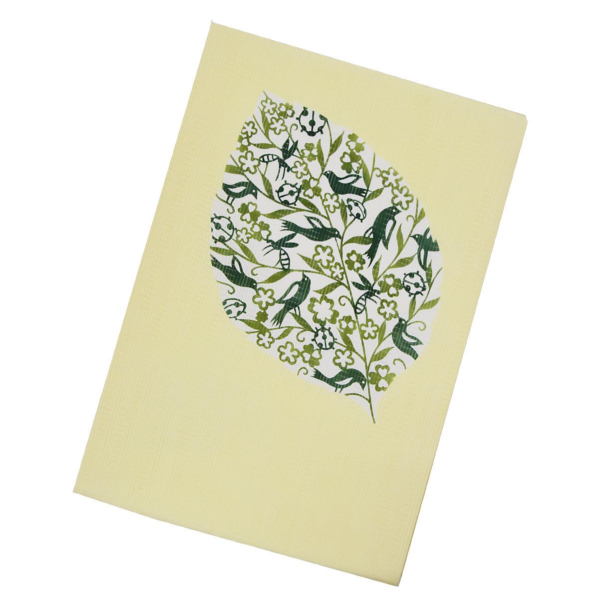 【鳥と虫柄】正絹 仕立て上がり 名古屋帯【夏】九寸 普段着 お洒落 黄色 緑番号d521-17