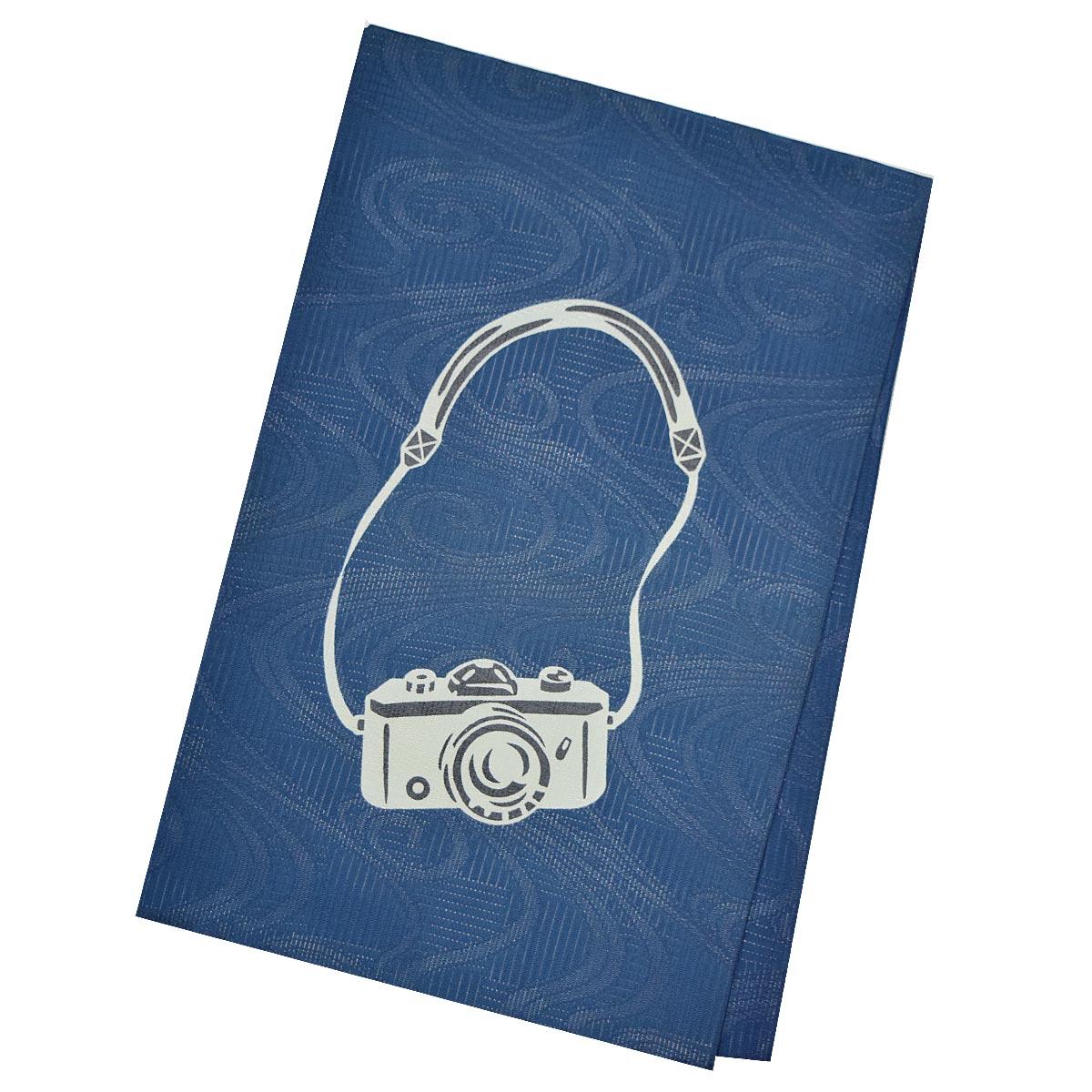《30%オフクーポン利用可》お買い物マラソン【カメラ柄】正絹 仕立て上がり 名古屋帯【夏】九寸 普段着 お洒落 レトロ 青 ブルー番号d521-19