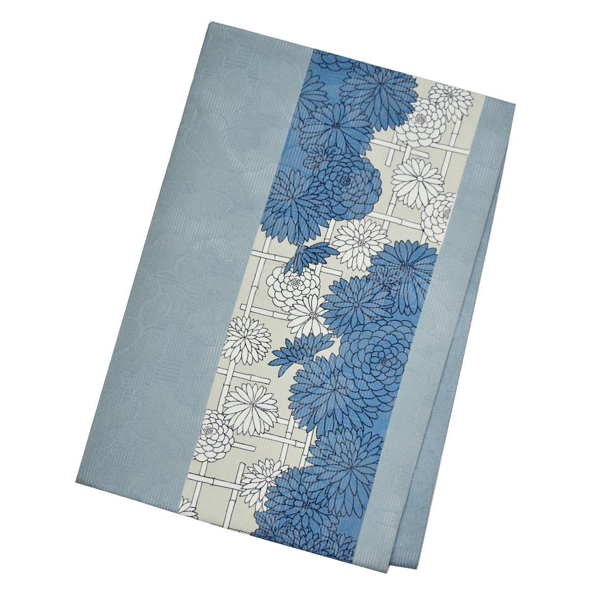 【夏】正絹 夏 仕立て上がり 名古屋帯九寸 着物 レトロ 緑 青 花柄番号d521-6