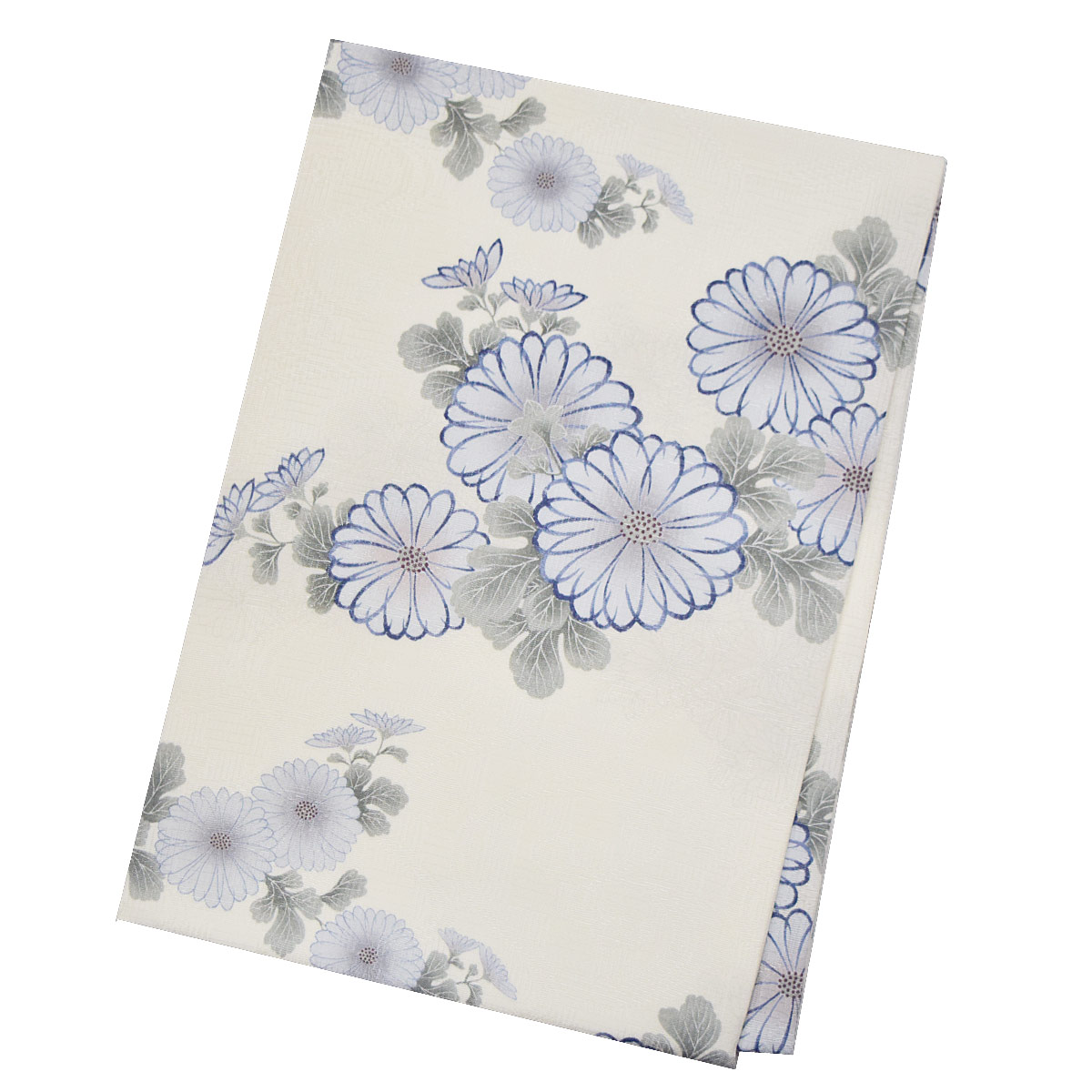 青 花柄番号d521-7 着物 夏 名古屋帯九寸 仕立て上がり 白 【夏】正絹