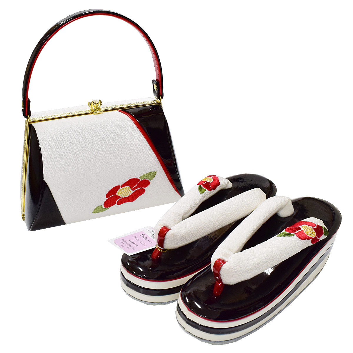 【椿】草履 バッグセット【フリーサイズ】振袖 成人式 袴 卒業式 モダン レトロ 白 黒 赤 花番号d612-42