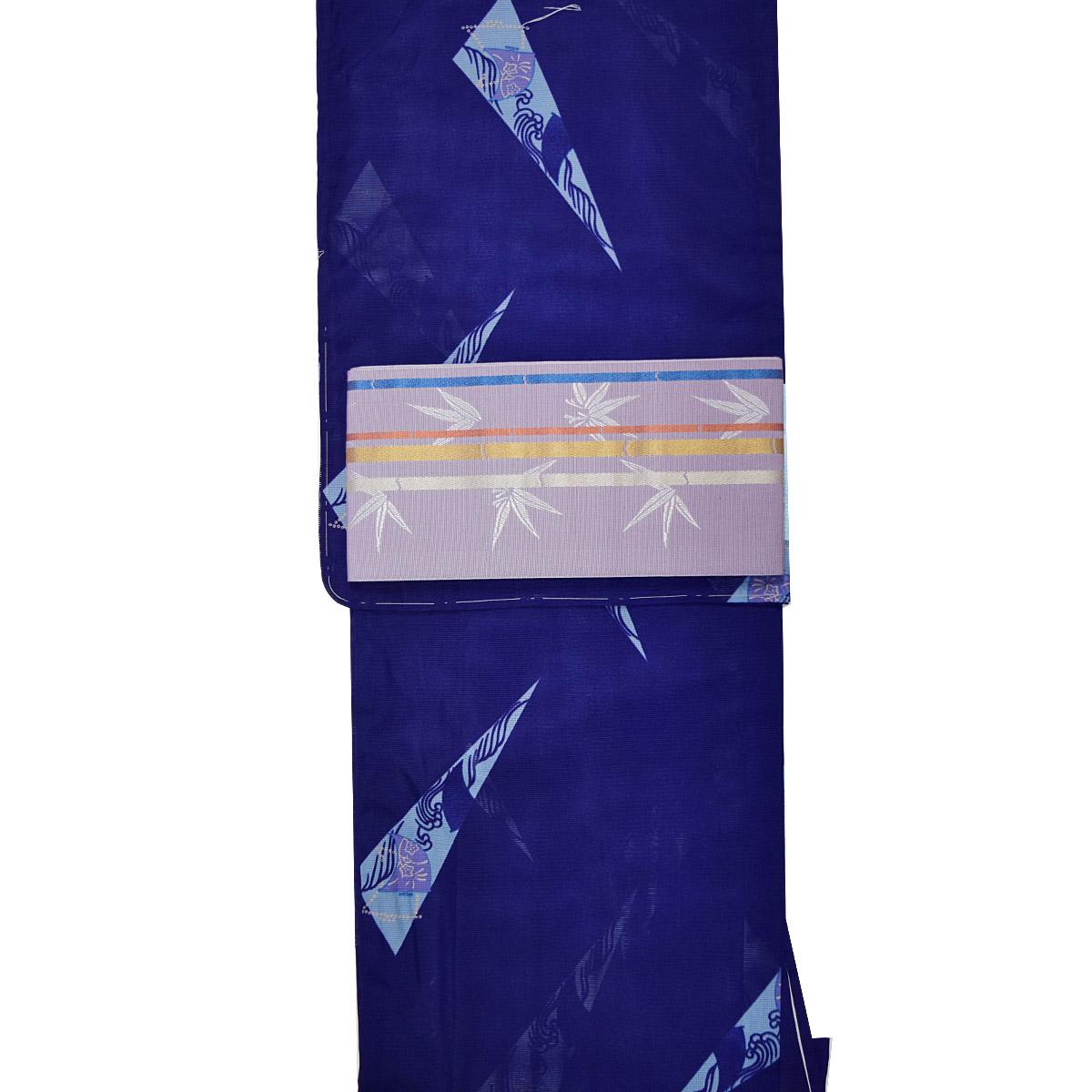 【夏】洗える 着物セット フリーサイズ【2点】洗える絽着物+正絹博多半幅帯 着物 和装 和服 博多織 紺 紫番号d706-1