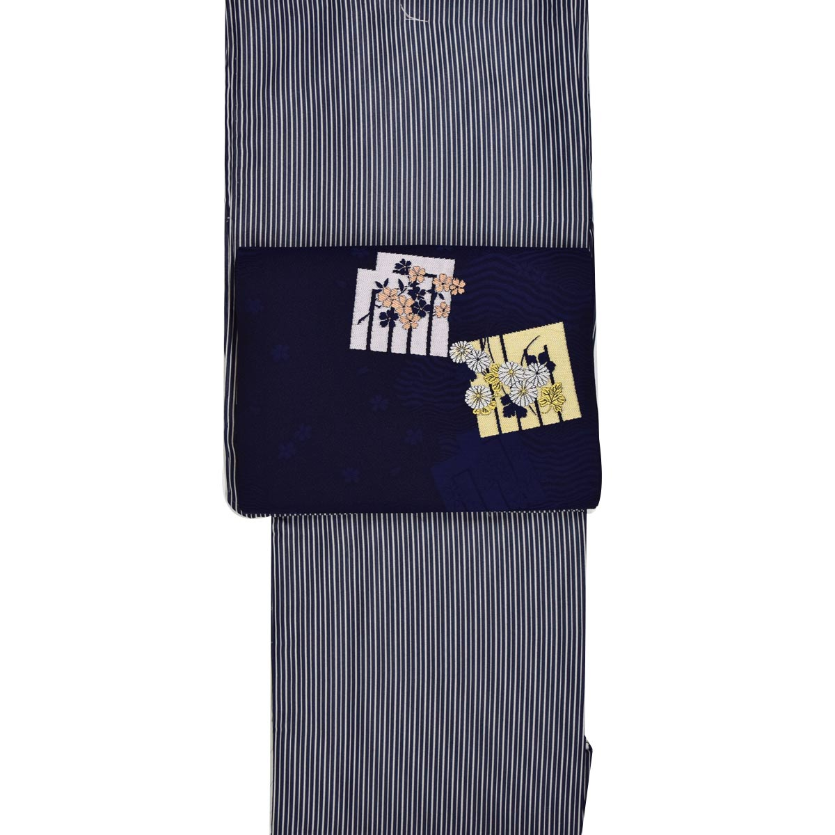 【M寸】洗える着物 セット【 単衣 】 洗える着物【 江戸小紋 】+ 正絹九寸名古屋帯【少々難あり】番号d808-23【h805】
