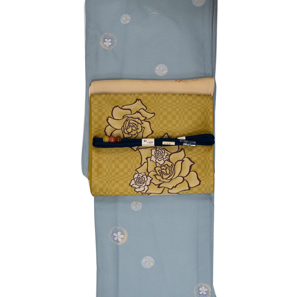 【L寸】【 単衣 】 洗える着物 セット【国産生地】【上質生地】 洗える着物 + 洗える 京袋帯 + 正絹 帯揚げ + 正絹 帯締め 番号d808-89【h805】