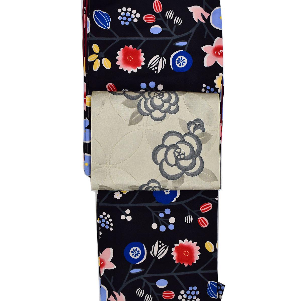 【M寸】【 袷 】 洗える着物 セット【花ひめ】 洗える着物 + 洗える 八寸 名古屋帯 【org-obi】番号d808-9