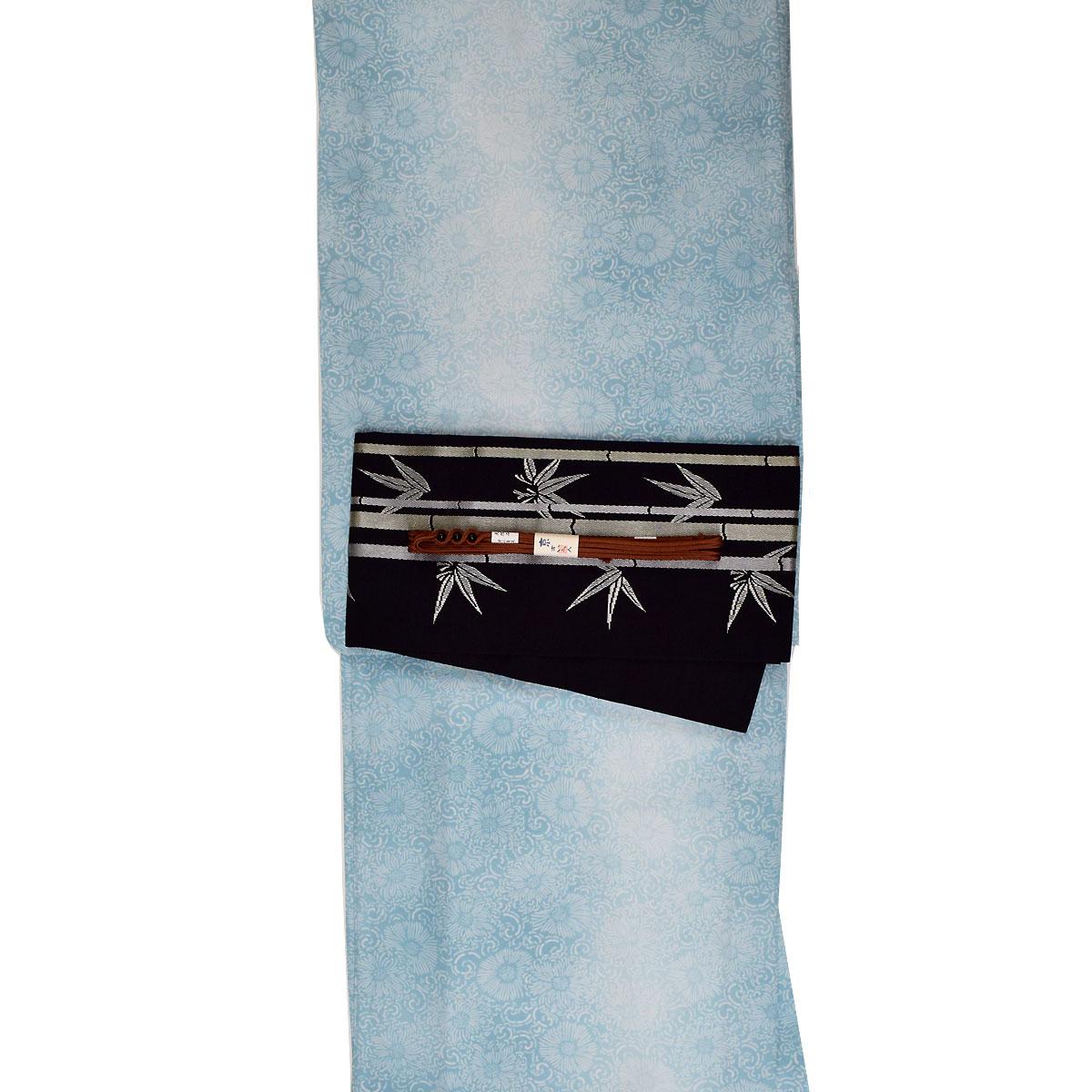 【L寸】【 単衣 】 洗える着物 セット【国産生地】【上質生地】 洗える着物 + 正絹 博多 半幅帯 + 正絹 三分紐 番号d808-94【h805】