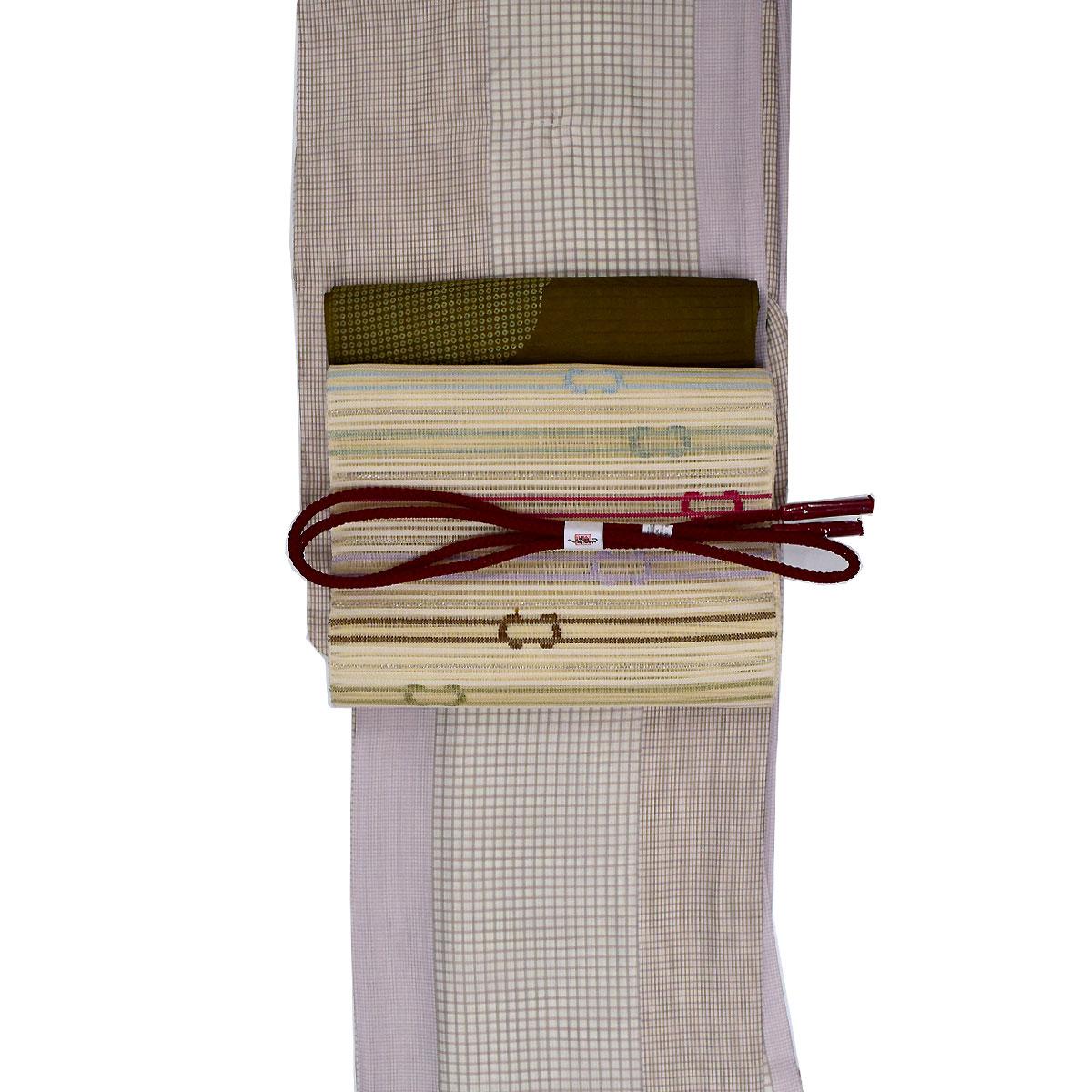 【L寸】【竪絽】【夏】洗える着物 セット洗える着物 + 正絹 絽綴れ名古屋帯 + 正絹 帯揚げ + 正絹 帯締め 番号d826-1