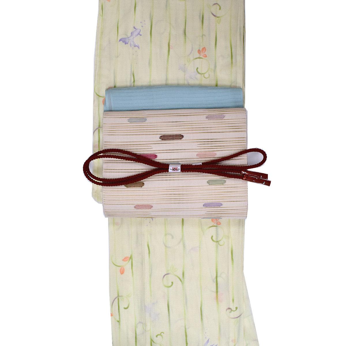 【L寸】【絽】【夏】洗える着物 セット洗える着物 + 正絹 絽綴れ名古屋帯 + 正絹 帯揚げ + 正絹 帯締め 番号d826-9