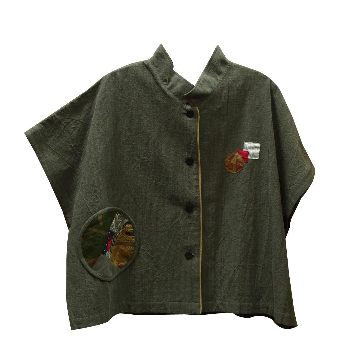 絣衣 トップス 安曇野日本製 フリーサイズd902-22