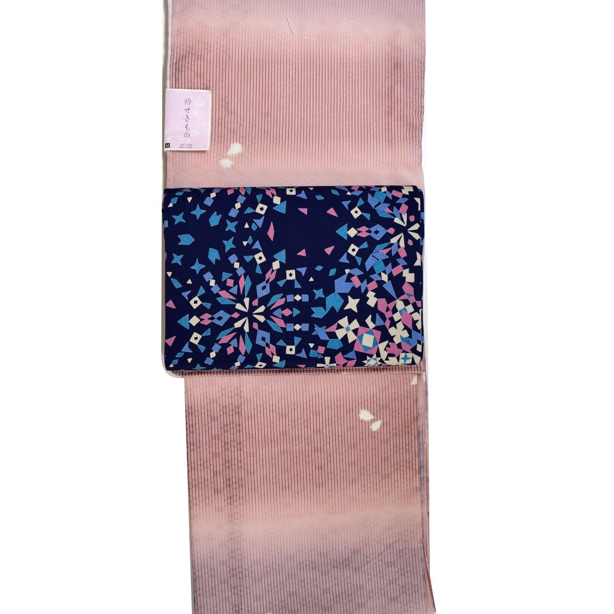 【M寸】洗える 袷 着物セット【2点】洗える袷着物+正絹九寸名古屋帯番号d910-12 着物 和装 和服