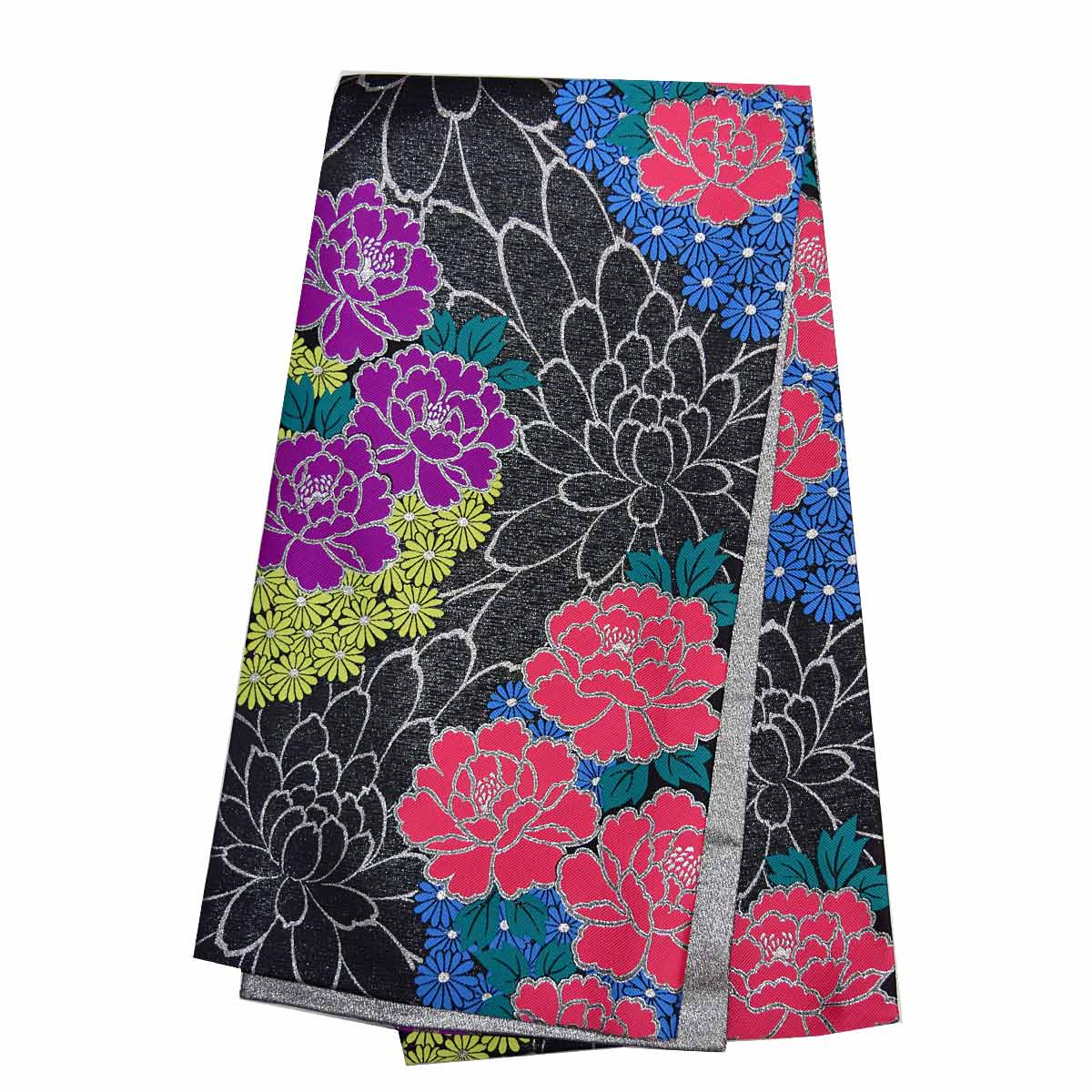 金 紫 単品成人式 ピンク 振袖用 振袖 仕立て上がり袋帯 黒番号d920-3 花柄 袋帯