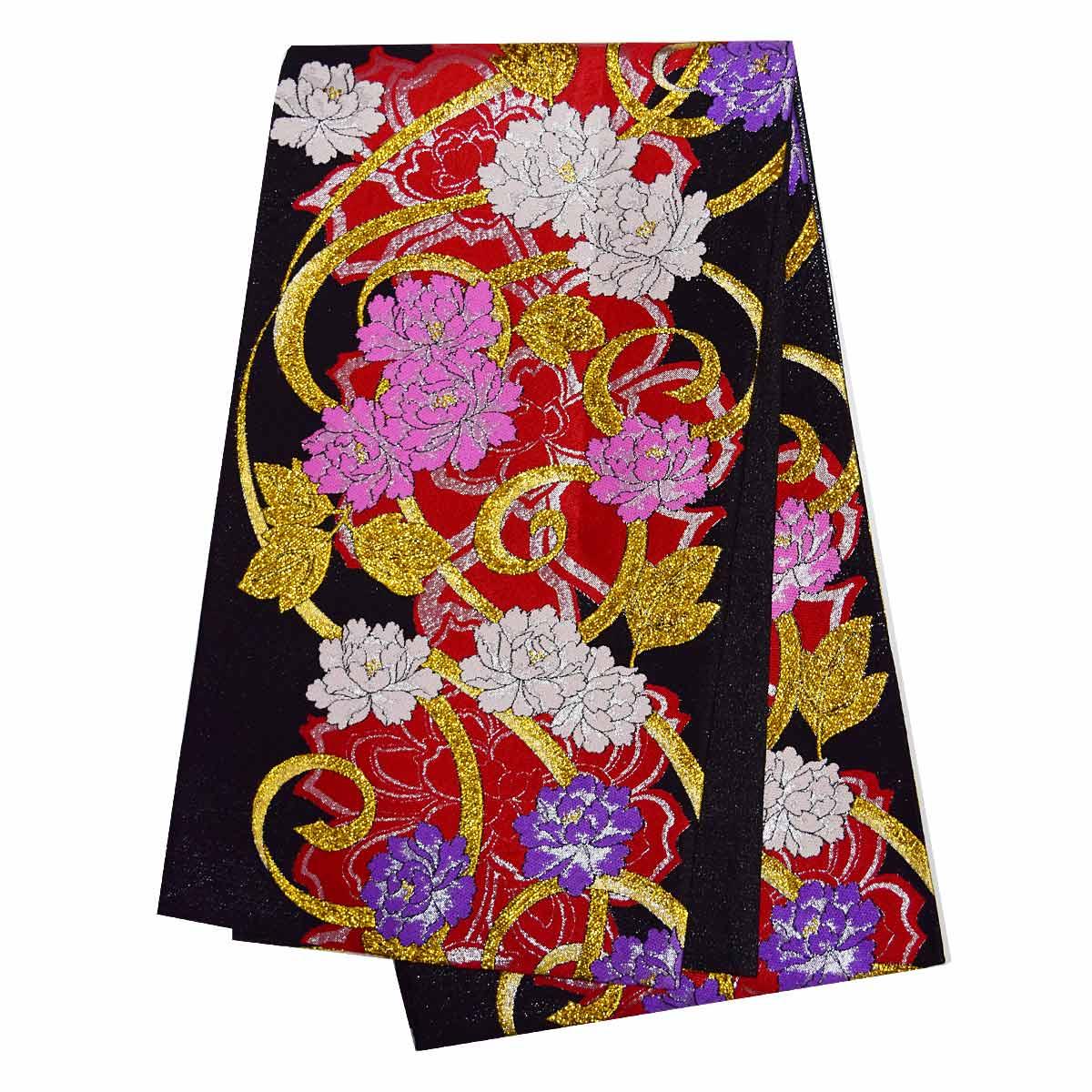 振袖用 仕立て上がり袋帯 単品成人式 振袖 袋帯 花柄 金 赤 ピンク 紫 黒番号d920-4