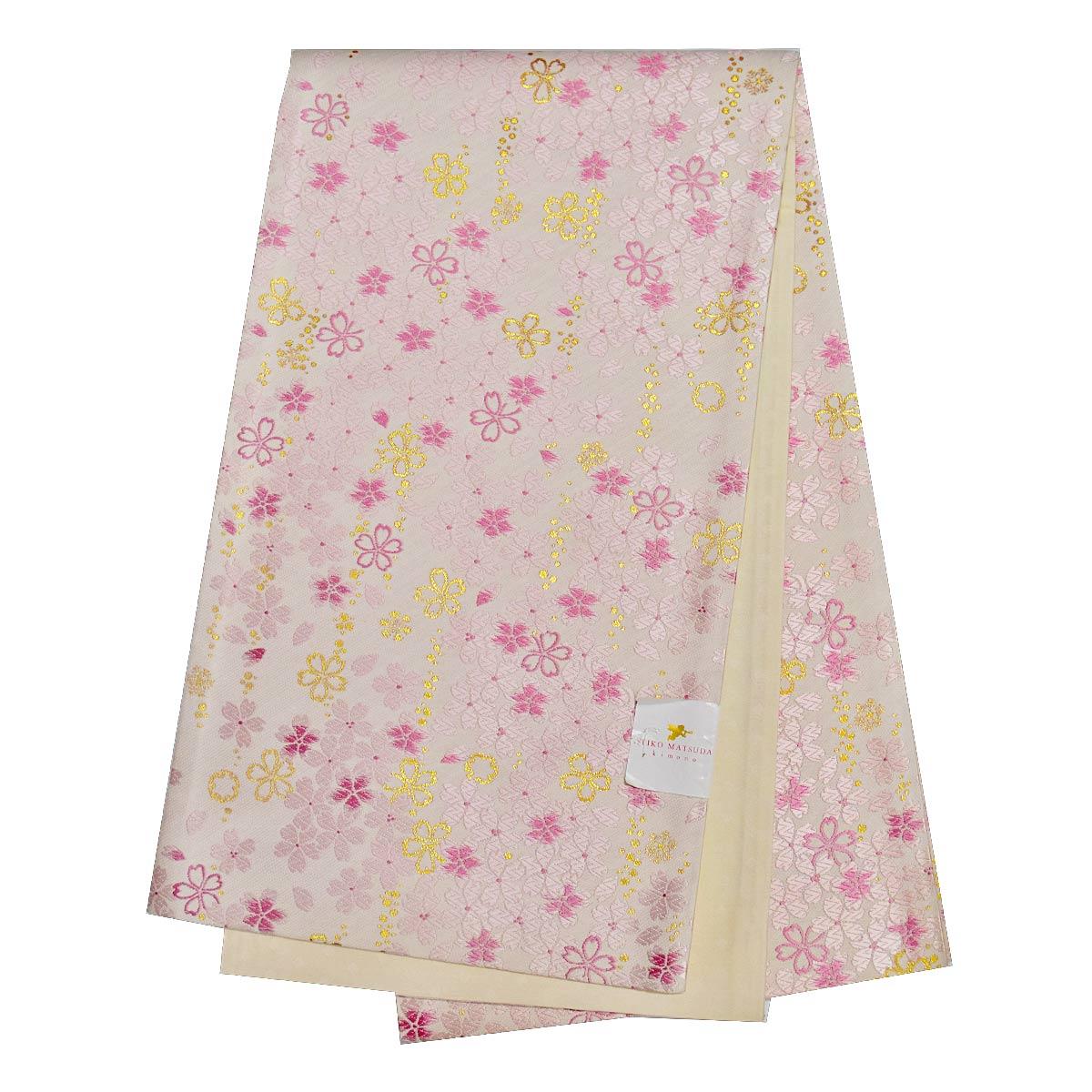 《30%オフクーポン利用可》お買い物マラソン振袖用 正絹 仕立て上がり袋帯 単品成人式 振袖 袋帯 花柄 金 白 ピンク番号d920-6