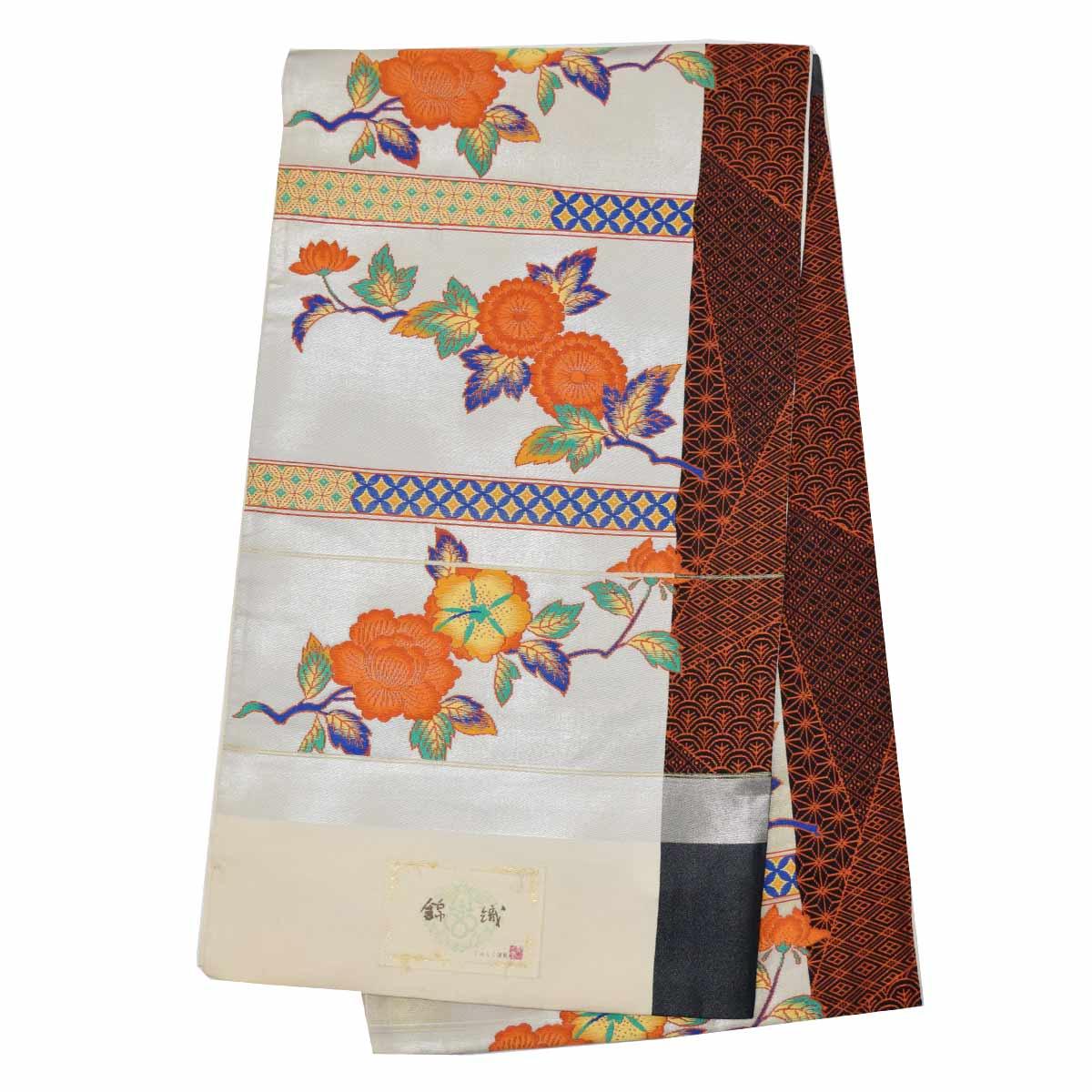【訳あり】 正絹 未仕立て 袋帯 単品訳あり アウトレット 古典 白 オレンジ【Bランク】番号f202-303